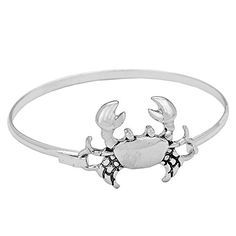 Cute Crab Silver Bangle Bracelet >>> More info could be found at the image url.