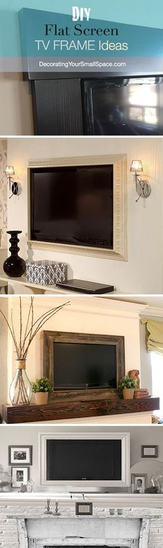 DIY TV Frame: Disguise that Flat Screen! I'm doing this in our house! DIY TV Frame: Disguise that Flat Screen! I'm doing this in our house! Tv Emoldurada, Style At Home, My Living Room, Home And Living, Tv Diy, Interior Design Minimalist, Minimalist Decor, Modern Interior, Sweet Home