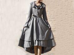elegant plain grey woolen long coat - yanhuayue - Long Coats