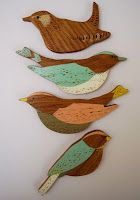 wooden bird decors by Anna Wiscombe