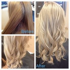 All over blonde with carmel blonde lowlights hair by heather before all over warm gold blonde with a copper tone underneath after a sandy blonde with subtle beige lowlights and pale blonde highlights pmusecretfo Choice Image