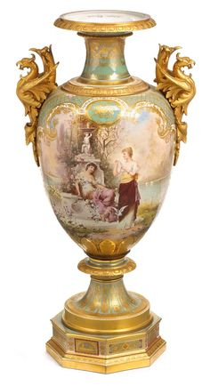 Exceptionally fine Vienna decorated KPM style hand- and gilt-painted pale green ground porcelain urn #FreemansAuction