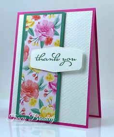 """I have a free PDF Tutorial for this card on blog. The card features Flowers For Every Season 6"""" x 6"""" Designer Series Paper and the stamp set, Borders Abound.  Created by Tracy Bradley, Independent Stampin' Up! Demonstrator  www.stampingwithtracy.com 3d Projects, Cas, Stampin Up, Catalog, Card Making, Paper Crafts, Seasons, Create, Flowers"""