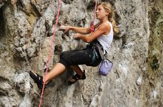 Hope to get into rock climbing next year. Looks like so much fun. Rock Climbing, Have Fun, Things To Do, Campers, Hair Styles, Scary, Outdoors, Spaces, Beauty
