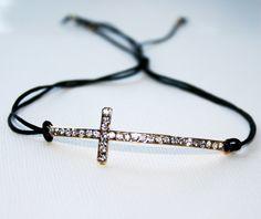 Curved Crystal Cross Black Pull Bracelet by LuckyYouLuckyMe. $19.00 USD, via Etsy.