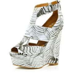 River Island White Georgia Hardinge printed cut out wedges ($91) ❤ liked on Polyvore
