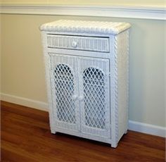 Digital Art Gallery White Wicker Cabinet Elana Lattice Style This white wicker cabinet is framed on wood Maximum storage within a small space Great for the bathroom
