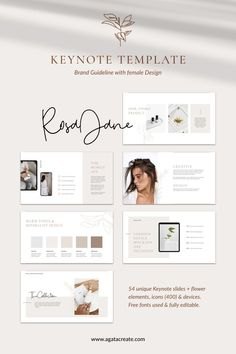 Rosa Jane is a female minimalist Keynote presentation template – clean, modern