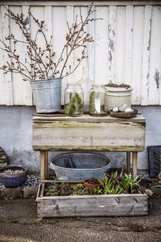 weather wood and old crates make a nice rustic garden