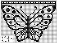 Una bolsa y una mariposa en filet corchet o punto red (A bag and a buterfly. Filet crochet)