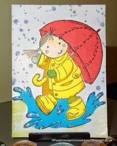 handmade card from Purple Princess Diaries ... paper piecing ... one image stamped on different colors of card stock ... sections cut out and reassembled into one image ... cute girl in the rain ...