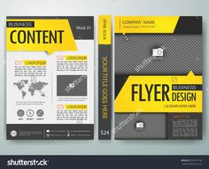Modern flyers brochure cover book annual report magazine design templates vector.  Yellow text box portfolio in a4 layout. To adapt for business poster presentation.