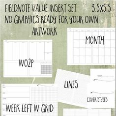 Field notes value calendar set.  No graphics.  This set is just waiting for your own creative style, a little ink, little washi tape, coloured inks - whatever you choose!   This set is lovely printed on coloured papers.