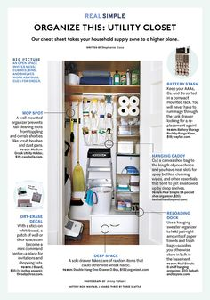 This Is the Best Way to Organize Your Utility Closet is part of Utility Closet Organization - It may be a small space, but it holds most of the essential tools in your home Broom Closet Organizer, Linen Closet Organization, Closet Storage, Kitchen Organization, Hallway Storage, Hanging Organizer, Kitchen Storage, Utility Closet, Laundry Closet