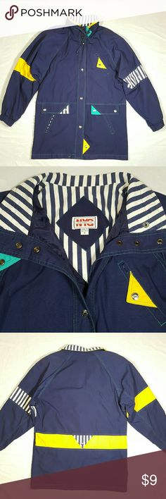 Jacket **Firm price** Please make.sure to look at other listing Pre-owned Snap button closure on front, has pockets. Draw string on the collar, has shoulder pads. Does have some small spots on the collar/dirty, and 2 spots on the back left sleeve on the stripe part. Had draw string on the button but it was taken out, and one of the rings, has a rip. There's 2 light white lines on the back, also has a snap button on the back, some of the material is ripped from button Armpit to armpit 22.5…