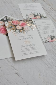 An ethereal illustration of watercolor roses in pink - 100% beautiful invitation! https://www.invitationsbydawn.com/shop/ethereal-garden-foil-invitation/?pp=1 #stationary