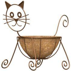 <b>Features</b><ul><li>Rust Color Cat Design Planter With Coco Liner</li><li>Powder Coated Steel Construction</li><li>Includes 10 in.</li><li>Dimension x x 16 in. Cat Design, Garden Design, Cat Statue, Metal Garden Art, House Plants Decor, Welding Art, Welding Crafts, Scrap Metal Art, Iron Art