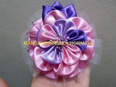 flores kanzashi en tela o  cinta de raso ancha  para el cabello   paso a...