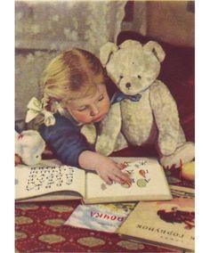 azbuka - vintage illustration - child reading to  teddy
