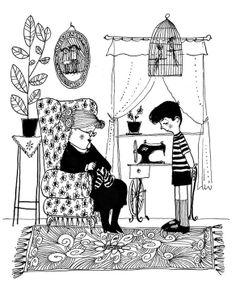 """""""Babcia na jabłoni"""" Miry Lobe, której reedycję w serii Mistrzowie Ilustracji wydało Wydawnictwo Dwie Siostry. Rys. Mirosław Pokora."""