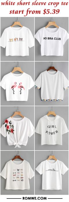 white short sleeve crop tee from $5.39