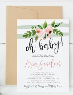 Oh Baby Shower Invitation, Pink, Mint, Peony, Watercolor It\'s a Girl or Boy, Baby Shower Invites   Celebrate the baby girl or boy on the way with this adorable floral oh baby shower invitation. Features pink and mint accents for a soft style.