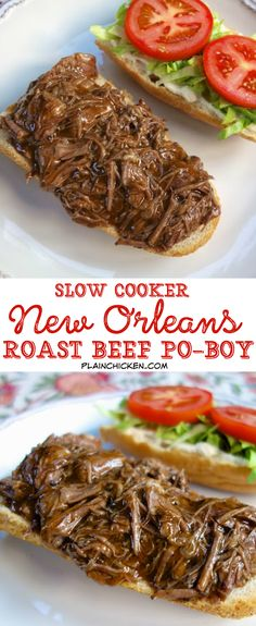 Slow Cooker New Orleans Roast Beef Po-Boy - inspired by our meal at Felix's in New Orleans. Only 5 ingredients! Slow cooked pot roast seasoned with cajun seasoning and simmered in an easy gravy. Can s (Roast Beef Recipes) Crock Pot Slow Cooker, Crock Pot Cooking, Slow Cooker Recipes, Cooking Recipes, Slow Cooker Roast Beef, Crock Pot Roast, Roast Beef Dinner, Cooking Videos, Pork Roast
