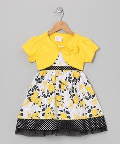 {Yellow & Black Rose Dress & Shrug - Infant, Toddler & Girls by Longstreet}