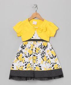 Take a look at this Yellow & Black Rose Dress & Shrug - Infant, Toddler…