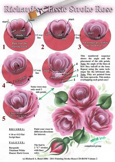 SIMPLY CRAFTS: Richard's Classic Stroke Rose - Painting Worksheet - click to enlarge