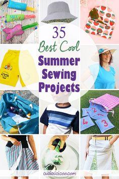 Keep temperatures down with the 35 best cool summer sewing projects perfect for beginners or experienced sewists! Clothing, beach accessories, toys and more! #summersewing #sewingprojects Easy Sewing Projects, Sewing Projects For Beginners, Sewing Hacks, Sewing Crafts, Diy Projects, Sewing Patterns Free, Free Sewing, Clothing Patterns, Dress Tutorials