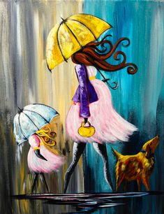 How to Paint a Baby Shower Umbrella Rainy Day painting Full lesson on youtube https://www.youtube.com/watch?v=HYSuTNNKJd4