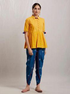 Mustard Yellow Muslin Cotton Kedia Top with Blue Bandhani Dhoti Pants- Set of 2 Cotton Suit, Cotton Pants, Cotton Dresses, Salwar Pants, Kurta With Pants, Mustard Yellow Top, Summer Outfits Women, Dress Patterns, Sewing Patterns