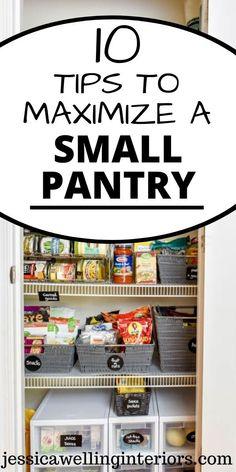 Small Pantry Closet, Pantry Closet Organization, Small Kitchen Pantry, Small Space Organization, Organized Pantry, Pantry Storage, Organizing Small Kitchens, Kitchen Organization Hacks, Cheap Kitchen Storage Ideas