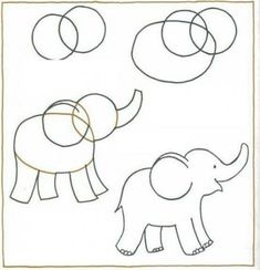 How to Draw a Cartoon Elephant Drawing Lessons, Art Lessons, Drawing Ideas, Elephant Art, Draw An Elephant, Elephant Doodle, Step By Step Drawing, Animal Drawings, Cartoon Elephant Drawing