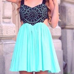 Bright blue & black cutout dress