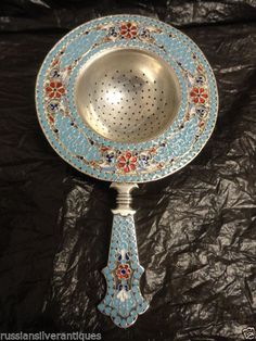 Amazing Antique Russian Silver 84 Cloisonne Enamel Tea Strainer 4 75 Inches | eBay
