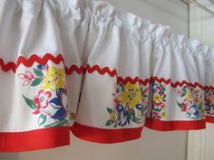 Bon Retro Kitchen Rick Rack Valance, Upcycled Vintage Fabrics, Kitchen Curtain  With Red Trim