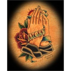 Hope Banner and Praying Hands by Christopher Perrin Tattoo Art Print. Orange County tattoo artist Christopher Perrin has had his work featured on skateboard decks for Frontier Youth Ministries and worked at Sid's Tattoo Parlor before opening Life After Death Tattoo in Costa Mesa, California. Influenced by his Christian faith, Christopher Perrin's artwork often has a religious theme