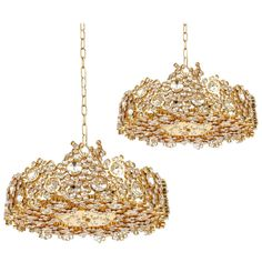 Pair of Gilded Brass and Crystal Glass Encrusted Chandeliers by Lobmeyr | From a unique collection of antique and modern chandeliers and pendants  at http://www.1stdibs.com/furniture/lighting/chandeliers-pendant-lights/