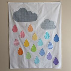 Rainbow Rain using Bump to Baby fabric designed by Gina Martin.  Join in on the blog hop Feb 23-27th.   @modafabric