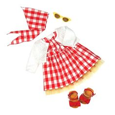 Prepare for a classic adventure in the Our Generation Deluxe Retro Outfit - 'Lil Miss Dah-ling. These doll clothes are designed for 18-inch Our Generation dolls and are truly darling. Classic and very stylish, this set features a gingham dress, matching scarf and accessories that include sandals and sunglasses. Reenact scenes from the past or create brand new adventures with the retro-inspired Our Generation Doll Clothes.