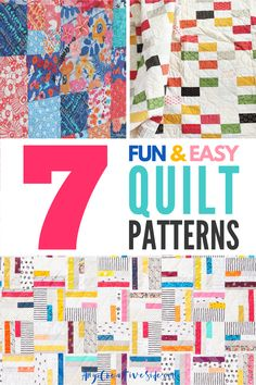 Easy Quilt Patterns for Modern Quilts. Seven easy modern quilt designs easy enough for a beginner to sew. #SewingSupport #Quilt #ModernQuilt #EasyQuilting
