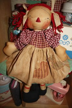 #raggedy #ann #primitive #doll Visit my site and check out my free patterns section! #anniescupboards