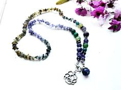 Raw Amethyst Green Agate Necklace Rose Flower Charm Pendant