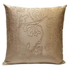Beige color Silk Blend Pillow Cover with Floral detail pattern    Visit https://www.etsy.com/shop/SHPillows?ref=l2-shopheader-name to see the rest of our collection.  Thank you!!