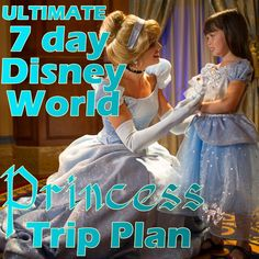 A princess-themed Disney World trip plan -  includes touring plans w/FastPass+, every princess character meet-and-greet (including Anna and Elsa), all princess dining experiences and hotel suggestions