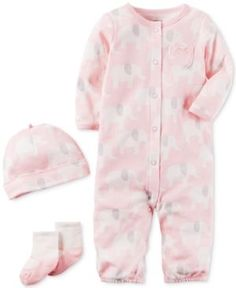 Carter's 3-Pc. Cotton Elephant-Print Hat, Coverall & Socks Set, Baby Girls (0-24 months) - Pink 9 months