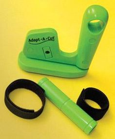 """A revolutionary new way to cut for students who have problems with a """"regular"""" scissor. The handle adapts with Velcro for extra support, a crossbar for horizontal support and """"pushing"""" rather than grasping. The blade is safely inside the tool."""