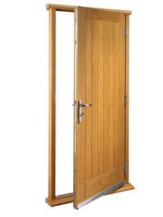 Wickes Chancery External Cottage Oak Veneer Door Set 2067 x Cottage Front Doors, Oak Front Door, Porch Doors, Cottage Door, Wooden Front Doors, House Front Door, External Timber Doors, Double Door Handles, Boot Room Utility